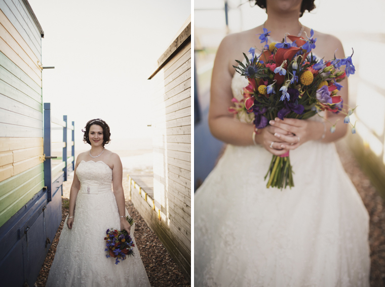 Bride posing on Whitstable beach