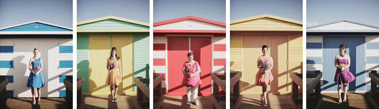 Collection of 5 images of bridesmaids in front of colorful beach huts on Whitstable beach