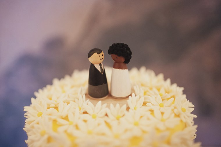 The wedding topper of a wedding cake