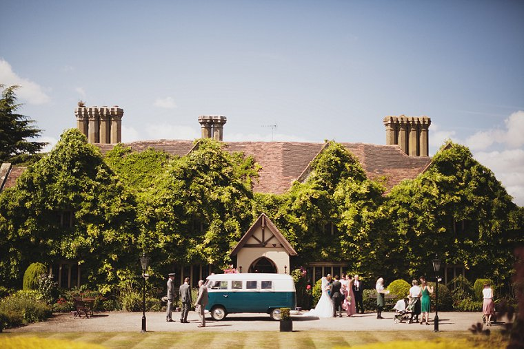 A VW Camper Van used to transport the bride and groom to their wedding at Boys Hall in Ashford in Kent