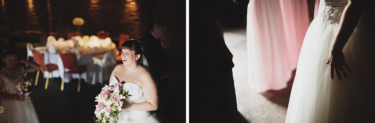 Bride waiting nervously for the start of her wedding at Cooling Caste Barn in Kent