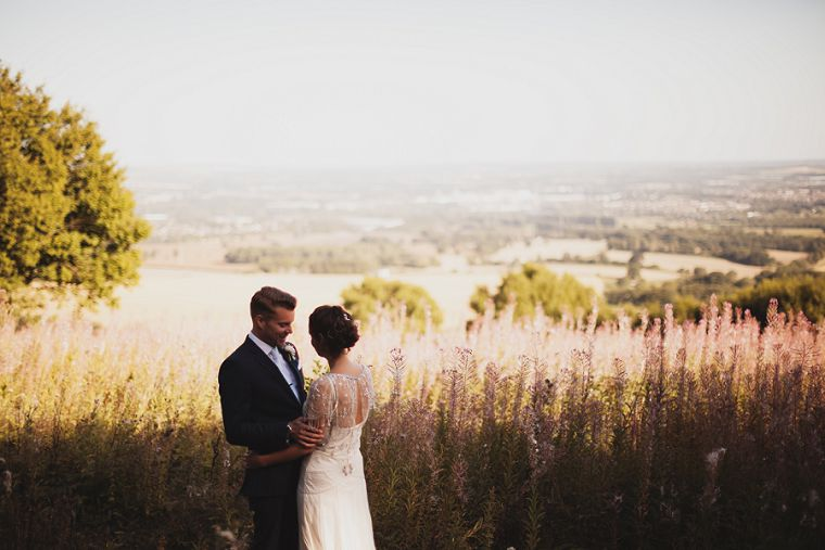 Bride and Groom overlooking the South Downs in Kent