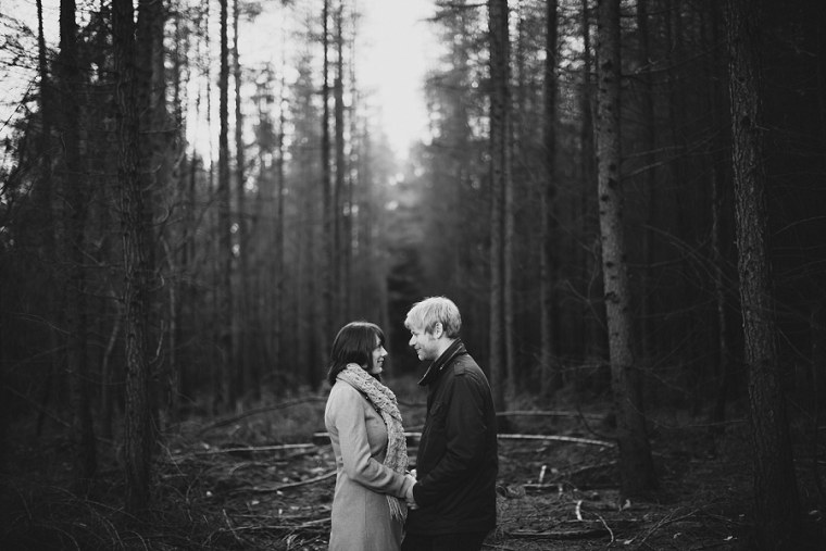 Black and White photo of Kyla and Tom looking in to each others eyes during their pre wedding photography session