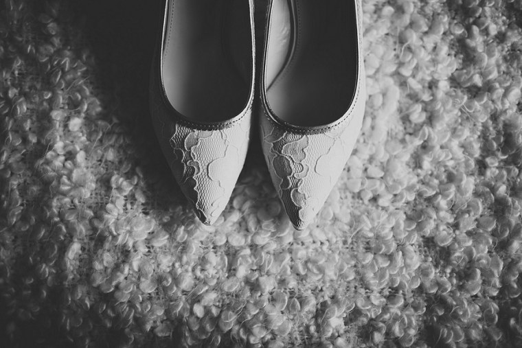 Brides wedding shoes in black and white