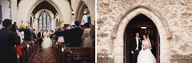 Bride and groom exiting St Mary's church in Kent