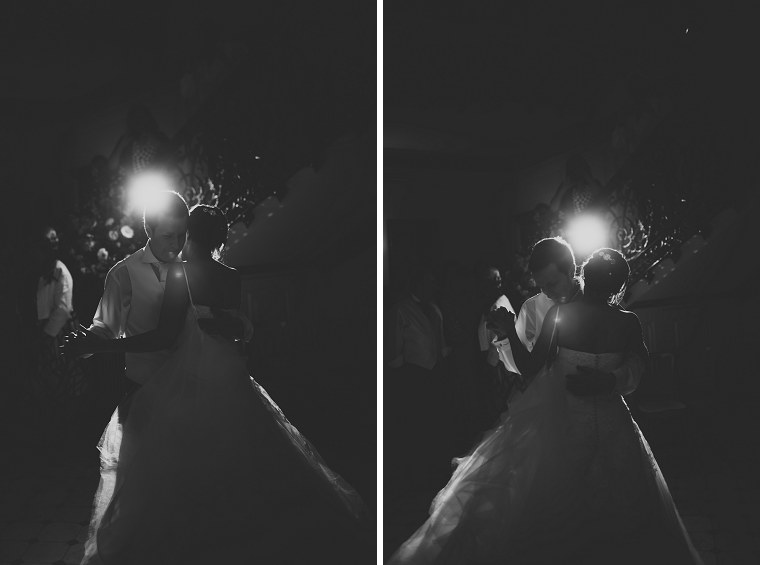Black and white wedding photography of first dance