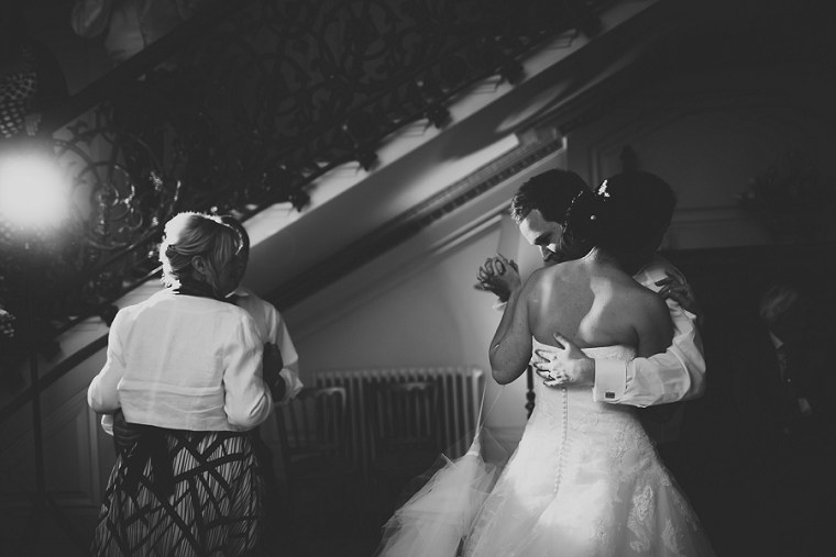 Black and White photograph of bride and groom dancing at their wedding at Mount Ephraim in Kent