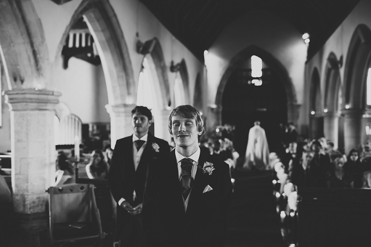 Groom waiting for his bride at Boys Hall Kent Wedding