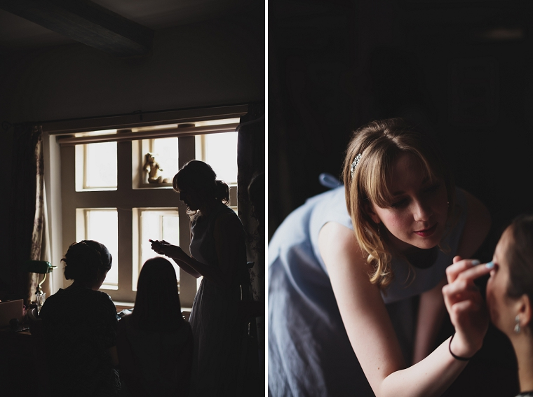 Bride getting ready at Chilham Village Hall Kent Wedding