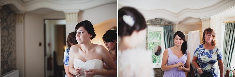 Bride getting ready for her wedding at Hayne Barn in Hythe