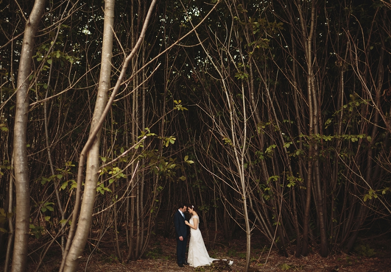 Amazing wedding portrait of bride and groom on wedding day in woods