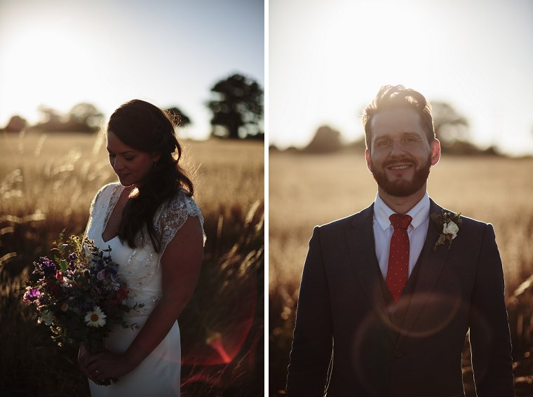 Bride and Groom Portraits at sunset in Sussex