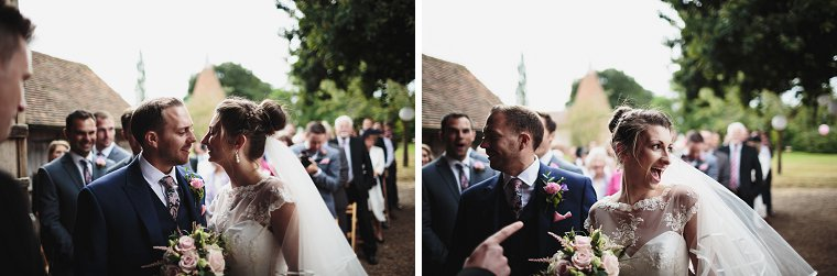 Groom and Bride laughing at start of wedding ceremony