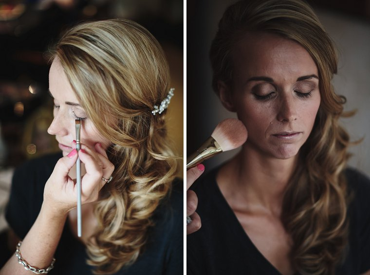 Bride having her make up done