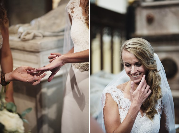 Bride showing her new wedding ring to her bridesmaid