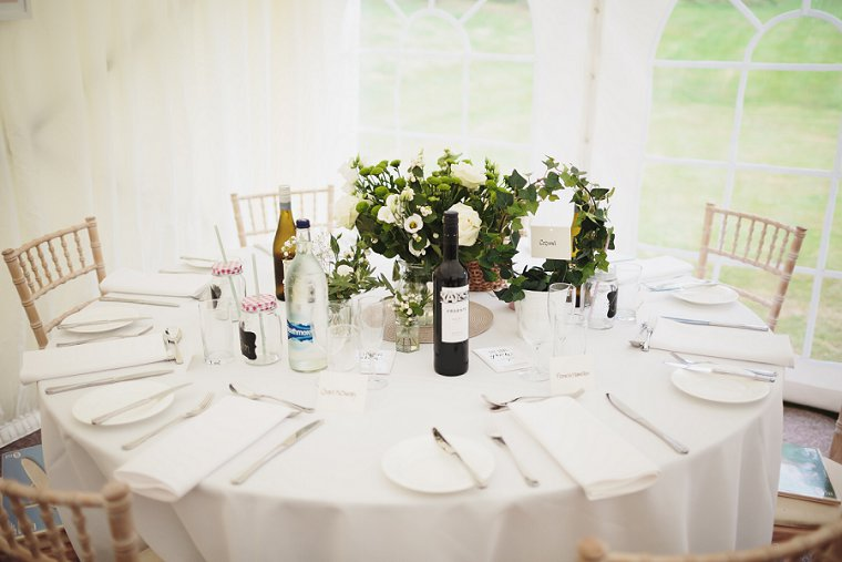 Wedding table decorations at Squerryes Court