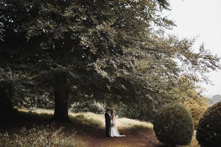 Bride and Groom Portrait under large tree