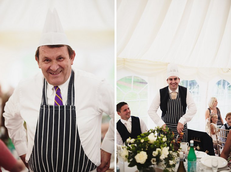 Wedding guests wearing chefs hats