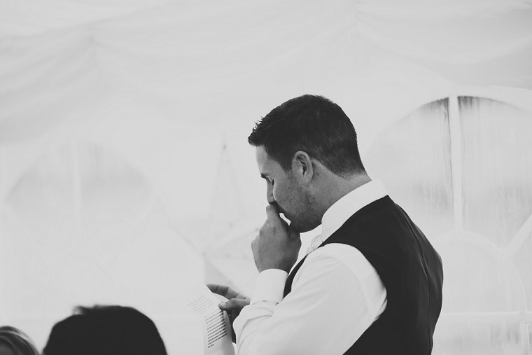 Groom emotional during his wedding speech