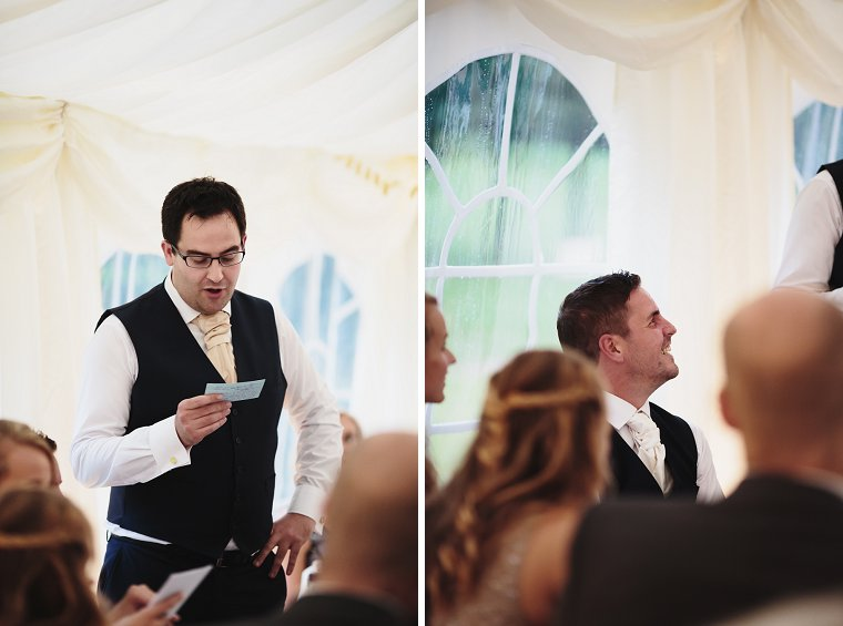 Groom laughing during his best mans speech
