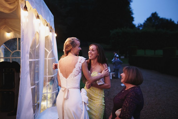 Bride hugging one of her guests