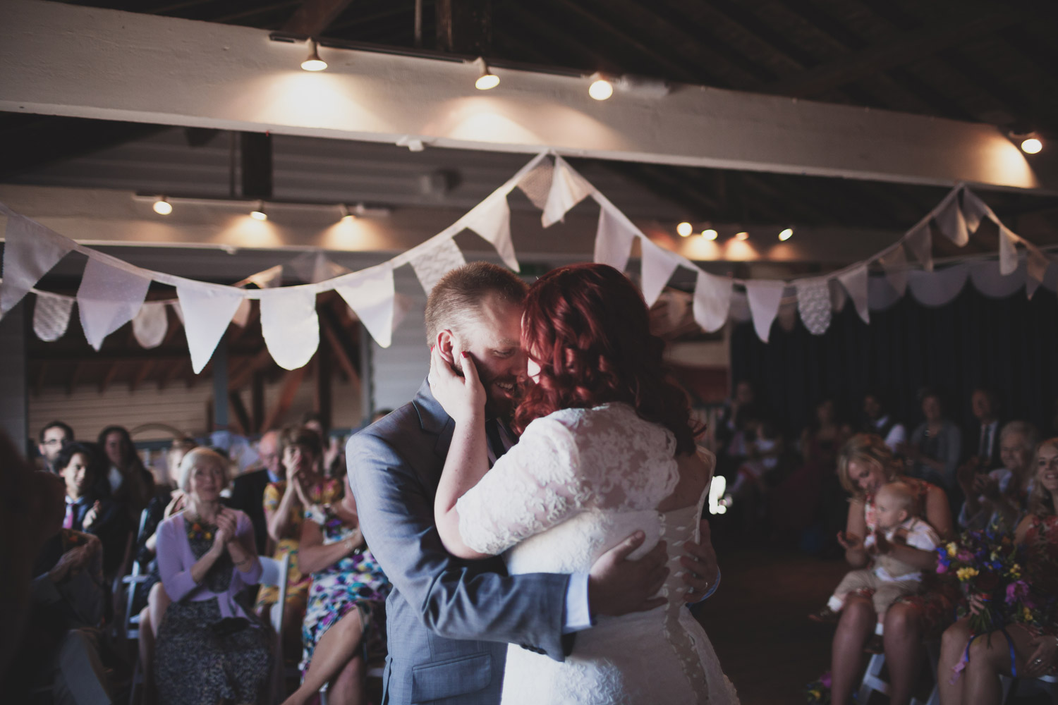Bride and Groom's first kiss after their Kent wedding