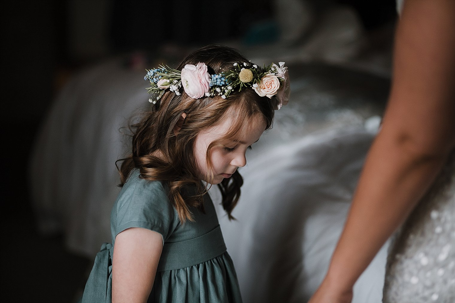 Flower girl with flower crown on