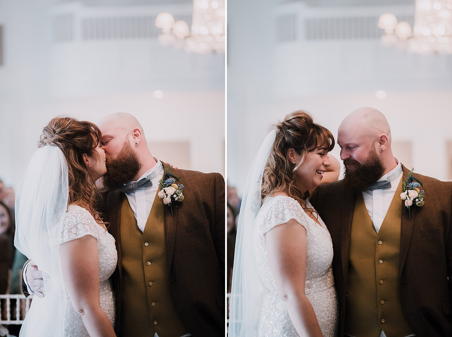 Bride and groom first kiss at the George in Rye wedding
