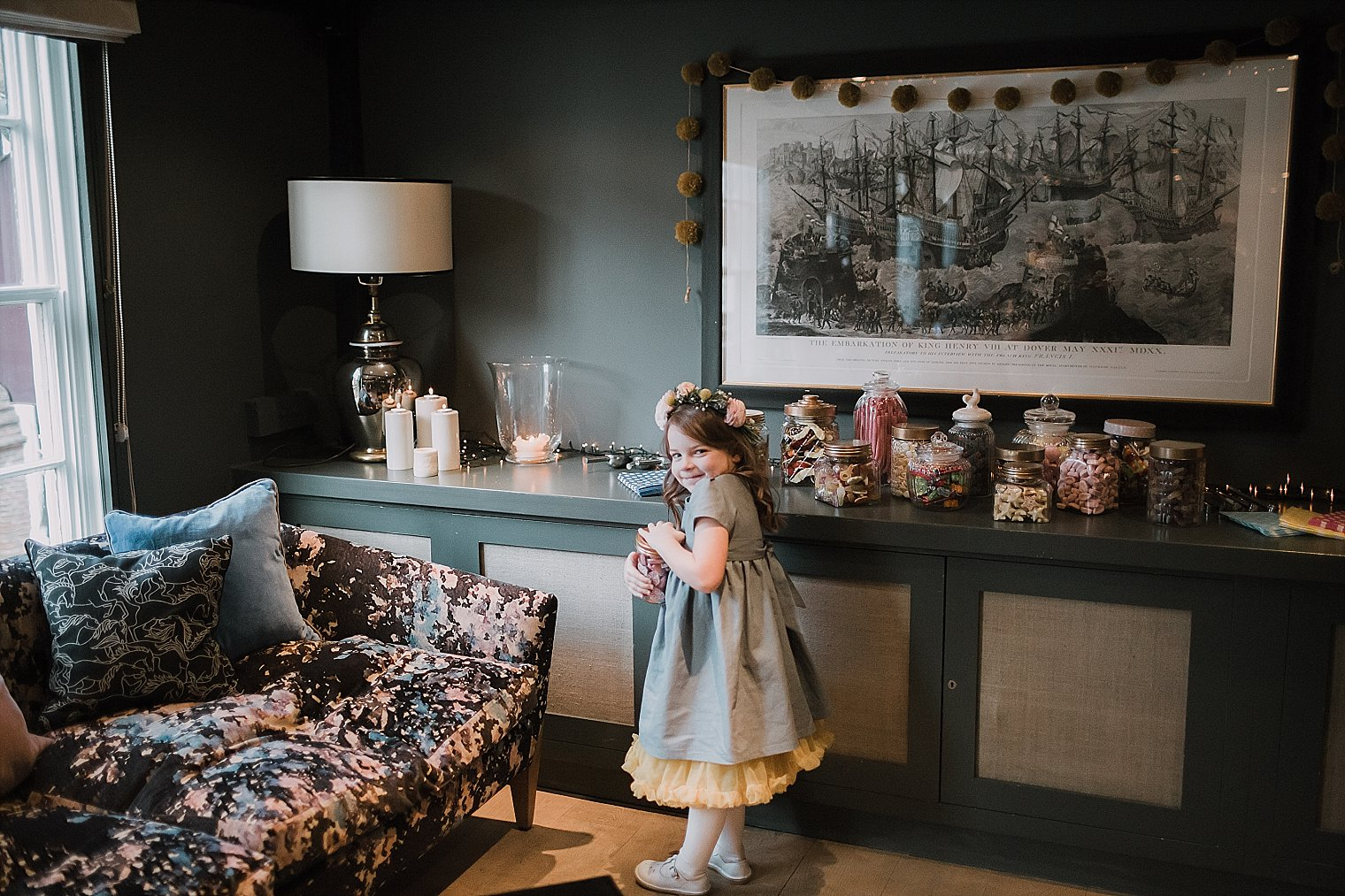 Flower girl eating sweets