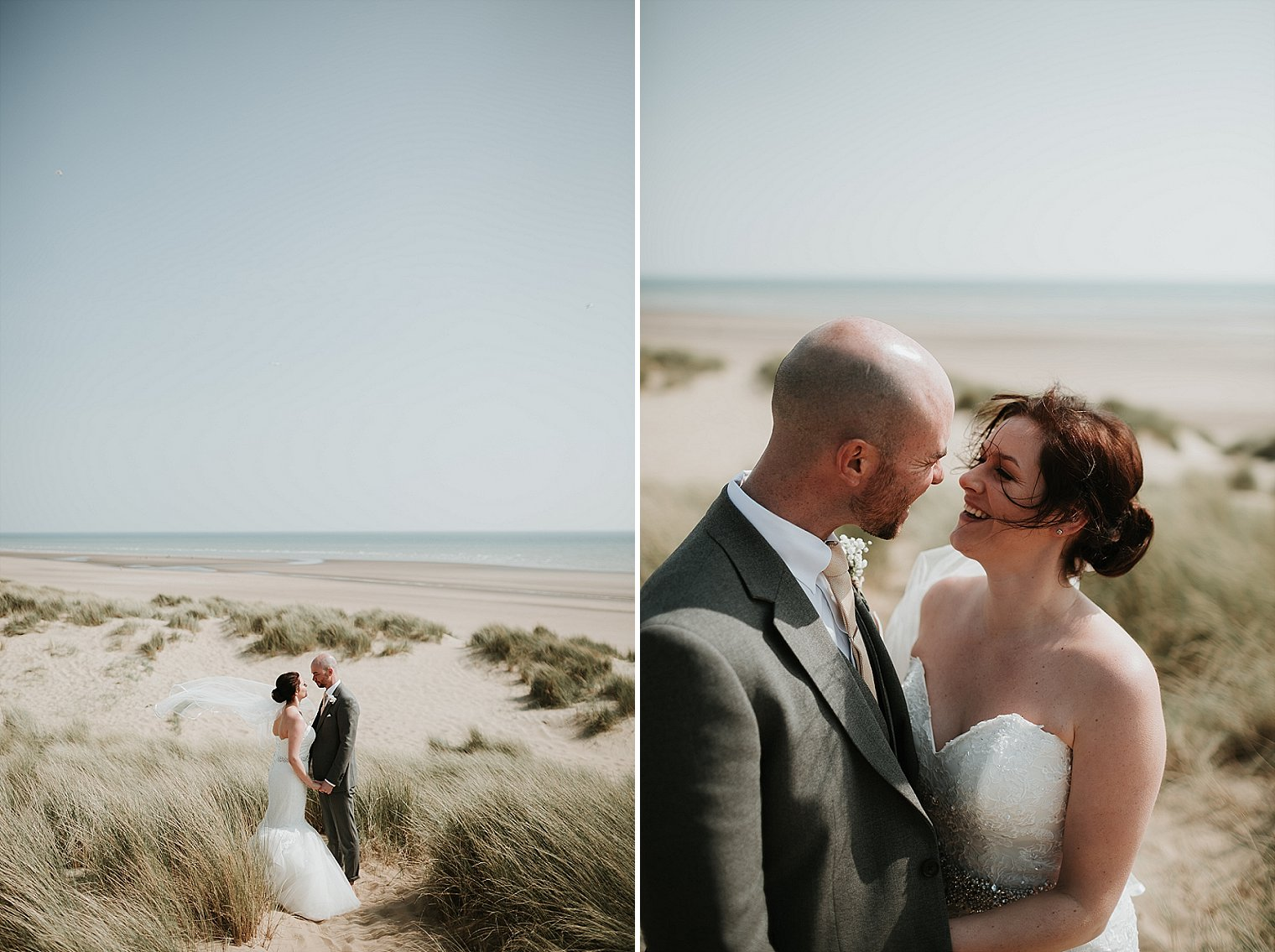 Wedding portrait on Camber Sands